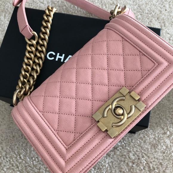 76ce242c4f1586 CHANEL Bags | 100 Authentic Small Le Boy Pink Caviar | Poshmark